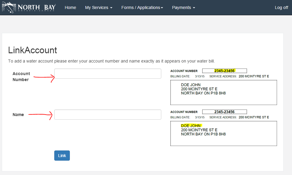 Screenshot of add account form